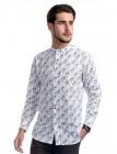 Twin Horse Band Collar Shirt