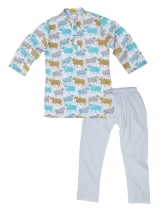 Graphic Cow Kids Kurta Pyjama