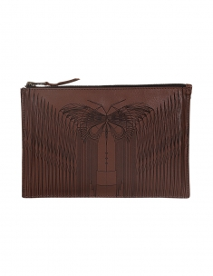Zipper Clutch Leather Butterfly