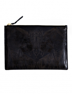 Cat Zipper Clutch Leather