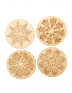 Floral Moths wood coaster