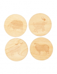 Grazing Herds Wood Coaster