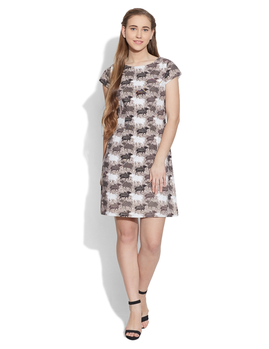 Graphic Cow Shift Dress