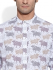 Band Collar Graphic Cow Men's Shirt